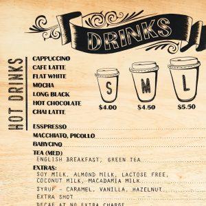 Coffee Menu Price List