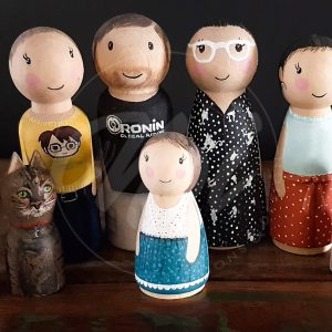 Hand painted peg doll family with pets